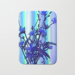 Blue Wildflowers With Backlight Bath Mat