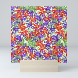 flowers lily iris palm leaves monstera tropical pattern Mini Art Print