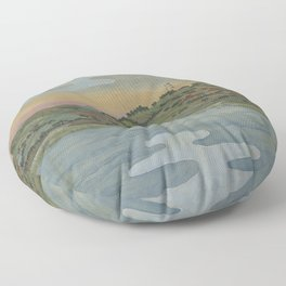 Lake view. Ukiyoe Landscape Floor Pillow