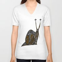 greg guillemin V-neck T-shirts featuring Snail Abstract by Greg Phillips by SquirrelSix