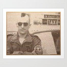 Text Portrait of Robert DeNiro with Full Script of Taxi Driver Art Print