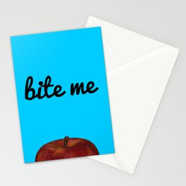Bite Me - Blue Background Stationery Cards