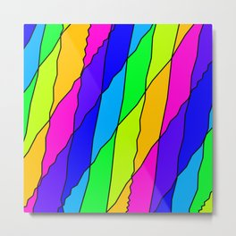 Slanting repetitive lines and rhombuses on bright pink with intersection of glare. Metal Print