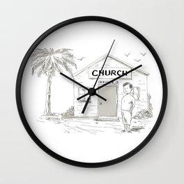 Samoan Boy Stand By Church Cartoon Wall Clock