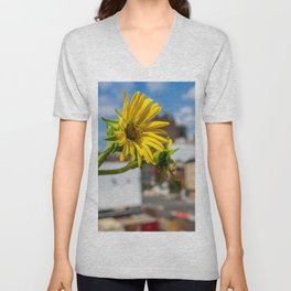 Yellow Flower in NYC Unisex V-Neck