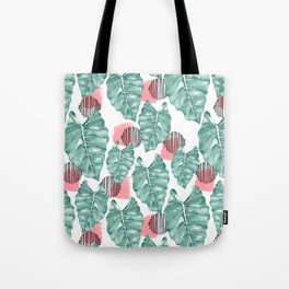 Watercolor tropical leaves abstract Tote Bag