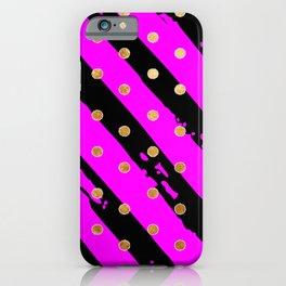 Purple and black stripe gold dot pattern iPhone Case