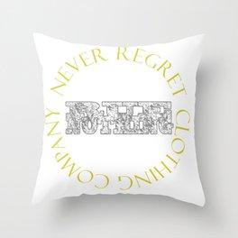 Rue Nothing Block and Circle Logo Throw Pillow