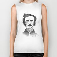 edgar allan poe Biker Tanks featuring Edgar Allan Poe by Sydney Morrow