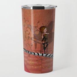 Cute fairy dancing on a piano Travel Mug