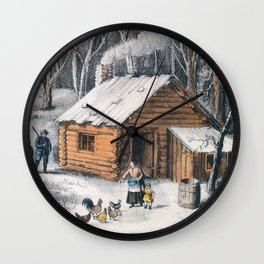 Vintage Home in The Wilderness Painting (1870) Wall Clock