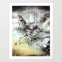 cheshire cat Art Prints featuring Cheshire  by Katerina Chivil
