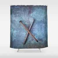 tool Shower Curtains featuring Two Nails by Maria Heyens