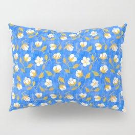 Painterly cotton flowers // in cobalt blue Pillow Sham