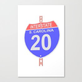 Interstate highway 20 road sign in South Carolina Canvas Print