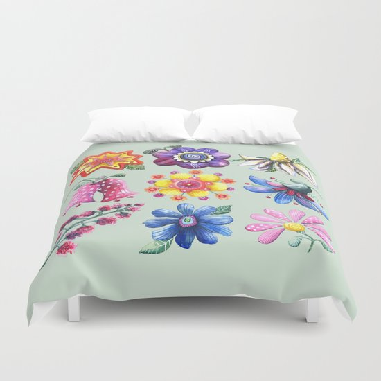 Pretty Flowers All in a Row Green Duvet Cover