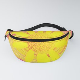 Yellow Sunflower on a Fuchsia Psychedelic Swirl Fanny Pack