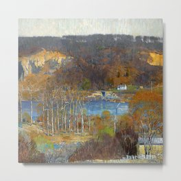 Granite Quarry; The Valley, Tohickon, Pennsylvania river valley landscape painting by Daniel Garber  Metal Print