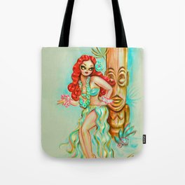 Redhead Hula Girl with Tiki Tote Bag