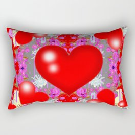 Grey Red Hearts Valentines & Pink Flowers Patterns Rectangular Pillow
