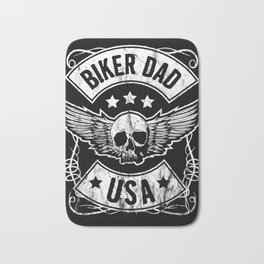 Biker Dad USA Motorcycle Skull Design Gift for Father Bath Mat