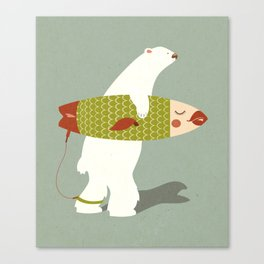 Bear Surfing  Canvas Print