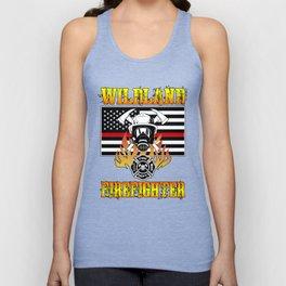 Wildland Firefighter Hero Thin Red Line Smokejumper Gift Unisex Tank Top