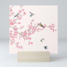 Birds and cherry blossoms Mini Art Print