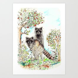 Raccoons in the Forest (color edition) Art Print