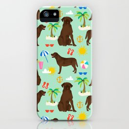 Chocolate Lab labrador retriever dog breed beach summer vacation dog gifts iPhone Case