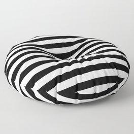 Black and White Horizontal Strips Floor Pillow