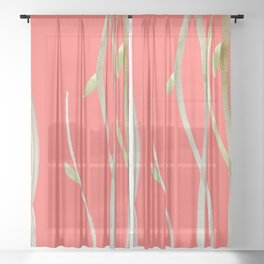 living coral weeds Sheer Curtain