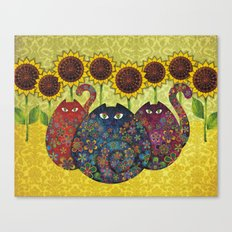 Cats & Sunflowers Canvas Print