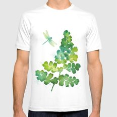 Dragonfly One White MEDIUM Mens Fitted Tee