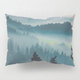 Misty Blue Watercolor Mountains Pine Trees Silhouette Minimalist Monochromatic Photo Pillow Sham