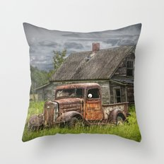 Old Vintage Pickup in front of an Abandoned Farm House Throw Pillow