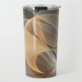 Brown, Beige And Gray Abstract Fractals Art Travel Mug