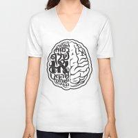brain V-neck T-shirts featuring Brain by RomaM