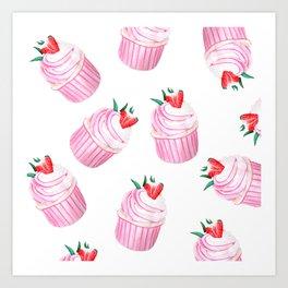 Strawberry Cupcakes Art Print