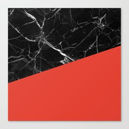 Black Marble with Cherry Tomato Color Canvas Print