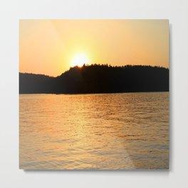 Sun Sets On The Lake Metal Print