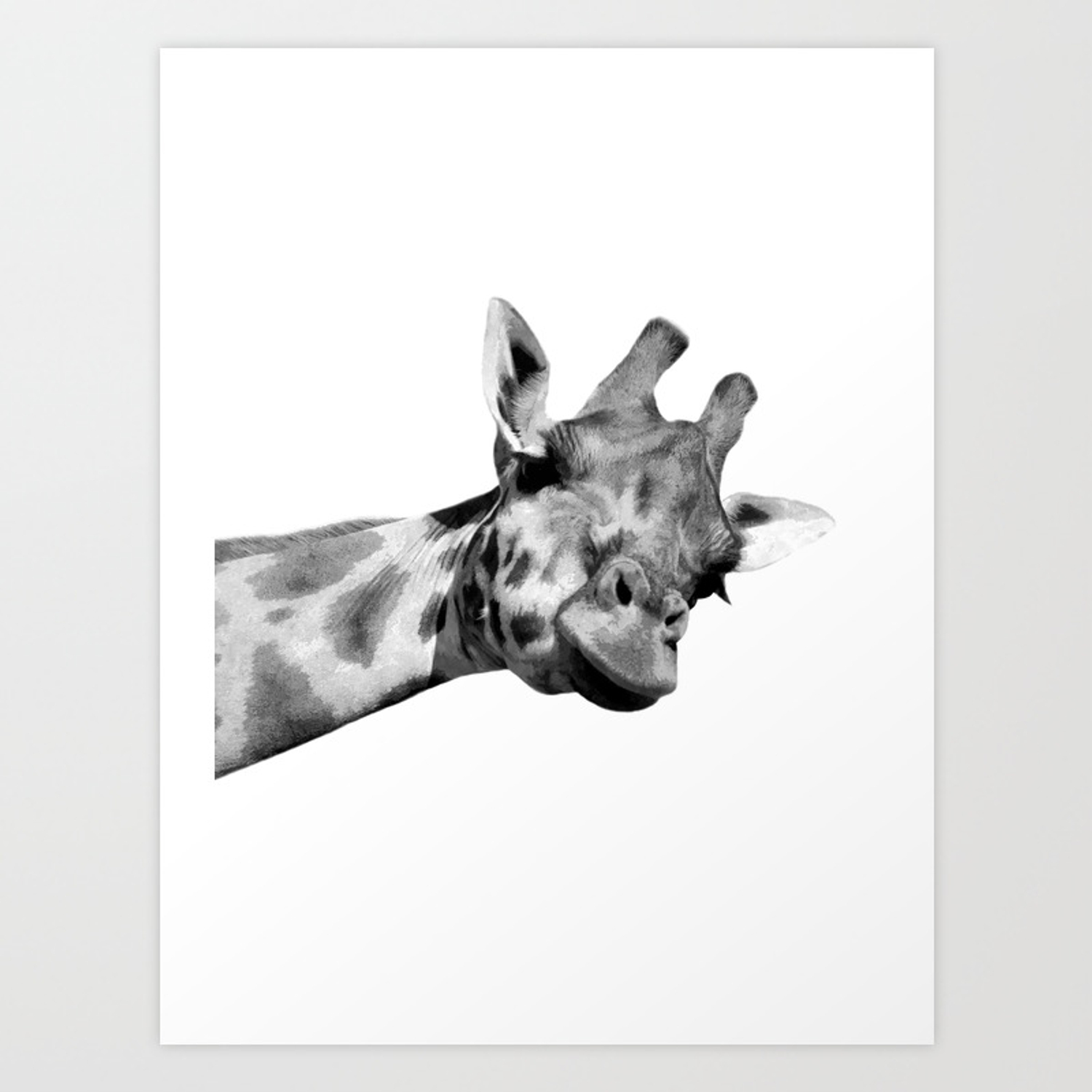 Black And White Giraffe Art Print By Alemi Society6