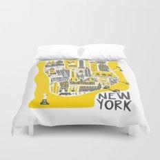 Manhattan New York Map Duvet Cover