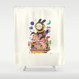 Space rabbit Shower Curtain