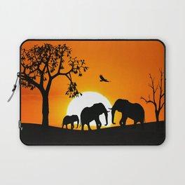 Elephant silhouettes at sunset Laptop Sleeve