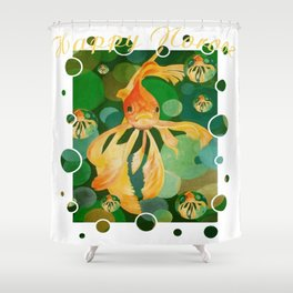 Happy Norooz Persian New Year Goldfish In Green Sea Shower Curtain