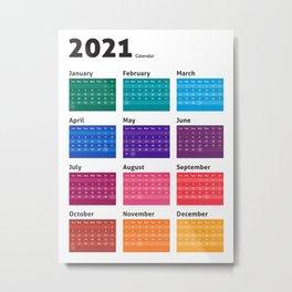 2021 Calendar in Color Metal Print