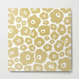 Retro Flower Pattern 127 Gold Metal Print