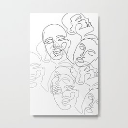 Lined Face Sketches Metal Print