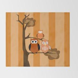 Orange Owls Throw Blanket